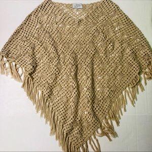 Ann Taylor Loft Crochet Knit Tan Shawl